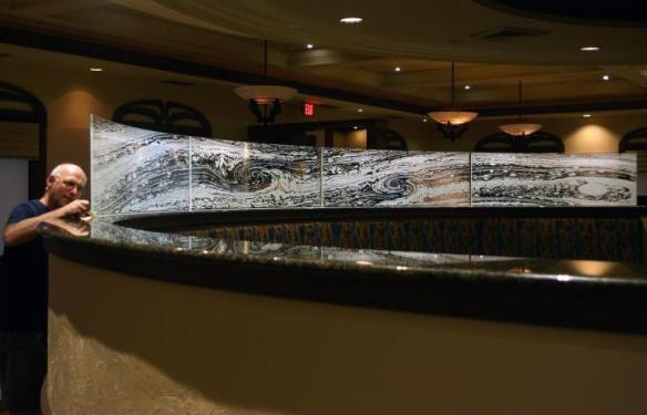 Luc Century & his new glass etchings at Il Cielo