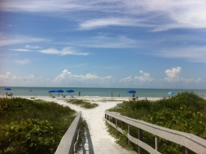 The beach today at Sanibel Moorings