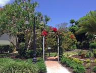 Entrance to butterfly garden at West Wind Inn.